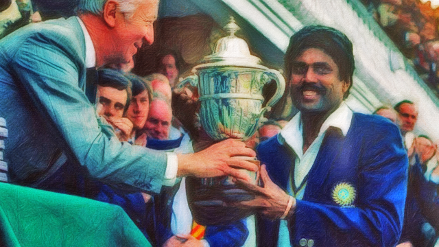 Kapil Dev with 1983 World Cup